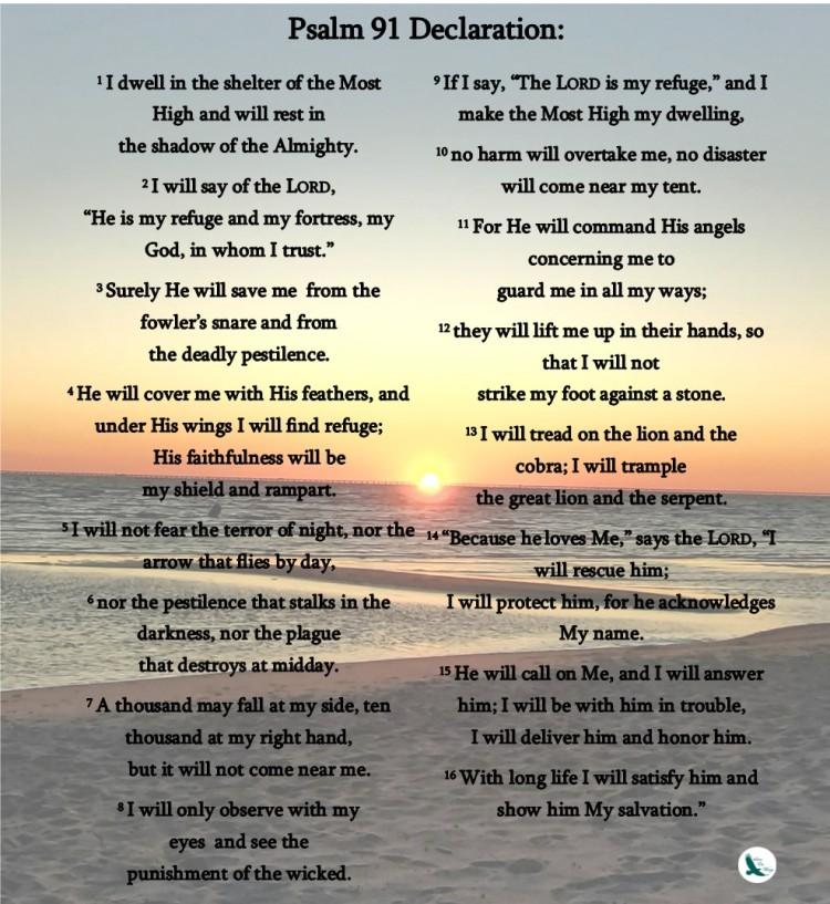 psalm 91 printable sunset declare wl