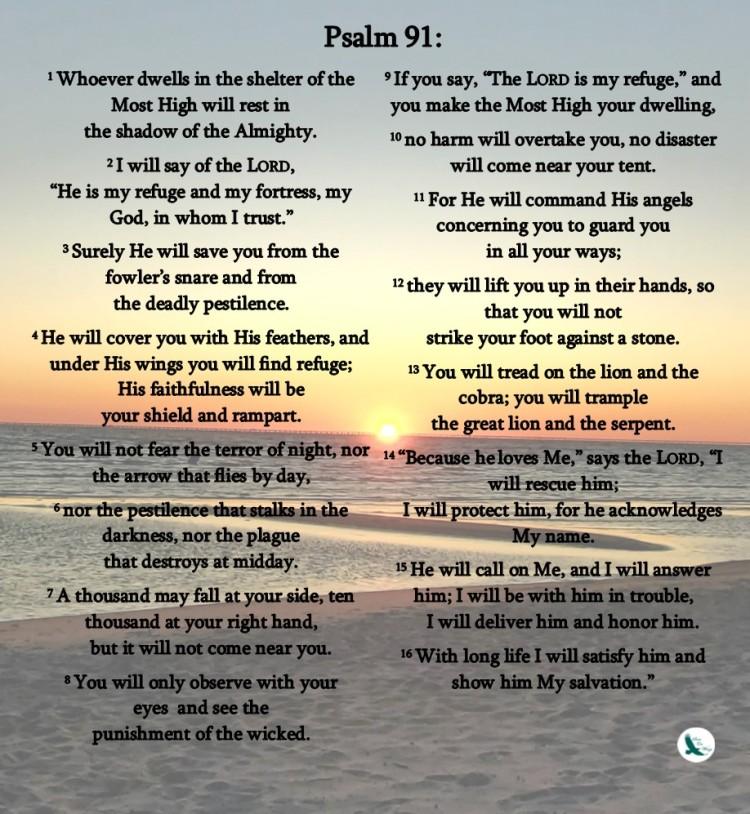 psalm 91 printable sunset wl